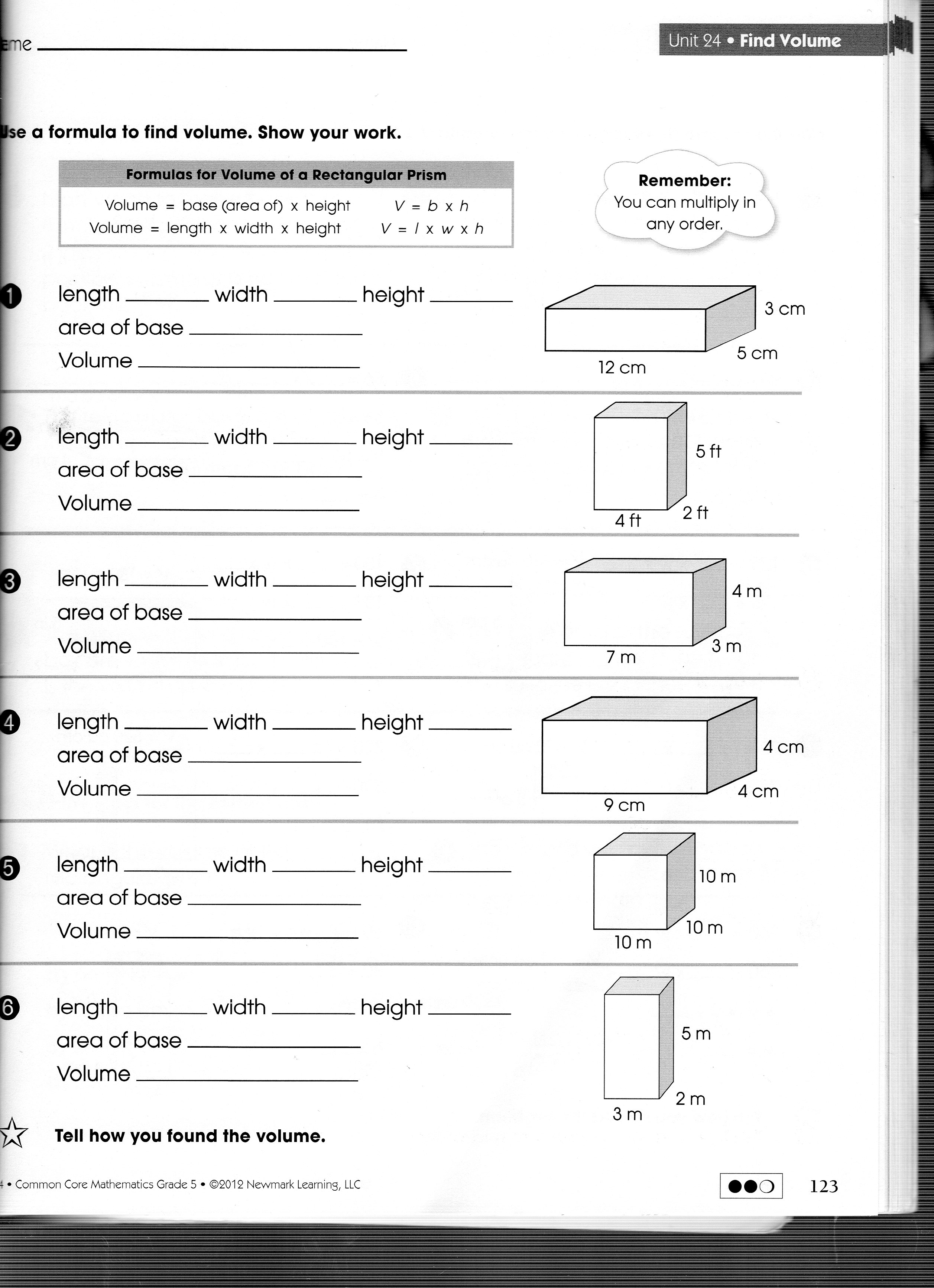 5th Grade Math Volume Worksheets core volume worksheets rringband – Math Volume Worksheets